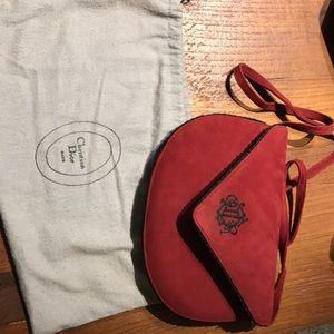 Red suede leather handbag